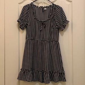 Gingham Wide Neck Dress